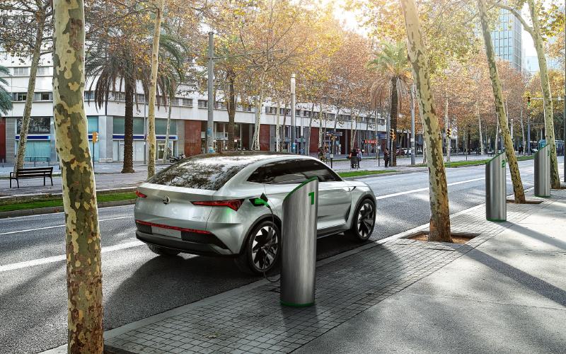 Skoda-Vision-E-charging-station-city